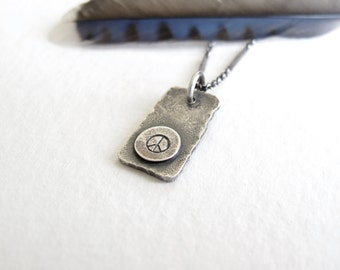 rustic peace and love necklace in sterling silver by modernbird
