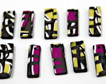 Set of Handmade Mosaic Polymer Clay Pendants in Rectangular Shapes