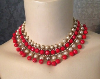 The Perfect Valentine - Warm Pearl and Vibrant Red 1950s Bib, Fringe Necklace, Choker, VLV