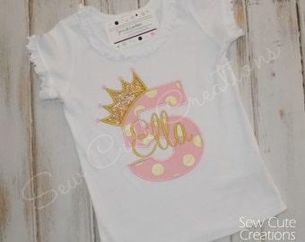 Princess Birthday shirt, Princess shirt, Pink Gold Birthday Shirt ,Girl Birthday Shirt, ruffle shirt, Princess outfit, sew cute creations