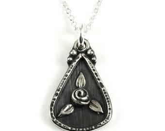 Rosebud Charm Necklace - Sterling Silver Rose Flower Pendant