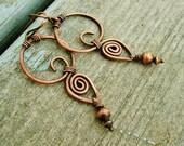 Copper wire wrap dangle earrings, hammered copper dangles