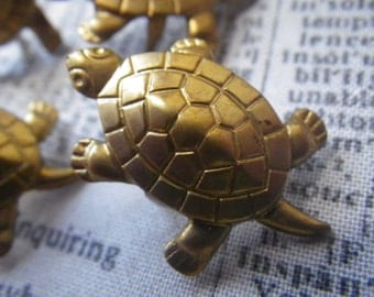 Turtle Shaped Nailhead Vintage 30x18mm Brass Stampings 4 Pcs