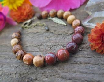 Red Jasper& Wood Gemstone Bracelet - Good Vibes Energy Crystal Jewelry Feather - Earthy Yoga Yogi - Funky Boho Jewels - Simple Mala Style
