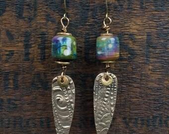 Handmade Lampwork Bead & Bronze Earrings