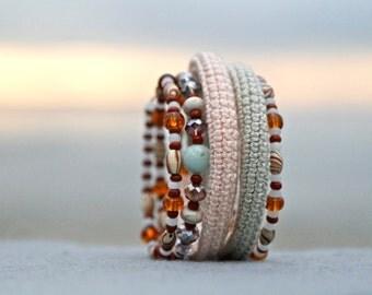 memory wire crochet bracelet - wrap bracelet - gypsy jewelry - stacked wide beaded cuff