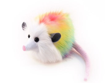 Easter Stuffed Animal Cute Plush Toy Opossum Kawaii Plushie Rainbow Prism Opossum Snuggly Cuddly Faux Possum Medium 5x8 Inches