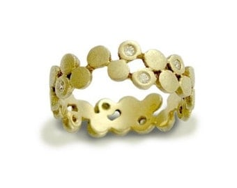 Solid gold ring, yellow gold ring, thin band, diamond ring, gold band, diamond ring, dots ring, band with diamonds - Yet to discover RG1175X