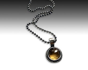 Citrine pendant, little pendant, Sterling silver necklace, silver stone necklace, necklace with pendant, ball chain - Close to me N2007