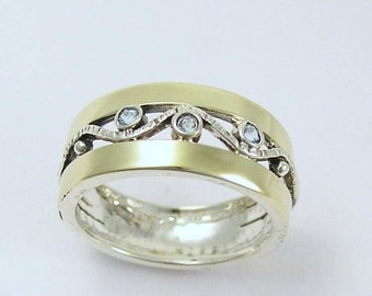 Sterling silver ring, silver yellow gold ring, zircons bad, mothers ring, birthstones ring, two toned band - Entertainment tonight R1240