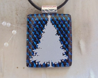Holiday Necklace, Dichroic Glass Pendant, Glass Jewelry, Christmas, Necklace Included, A1
