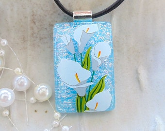 Calla Lily Fused Dichroic Glass Pendant, Necklace, Fused Jewelry, Blue, Necklace Included, A5