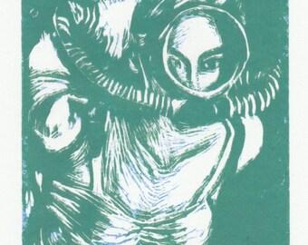Original Fine Art Linoleum Cut Print - Vintage Diver - in Sea Green