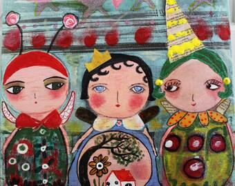 Original Collage Altered Art Bug Girls