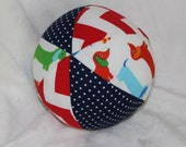 Primary Dachsunds Fabric Boutique Ball Rattle Toy