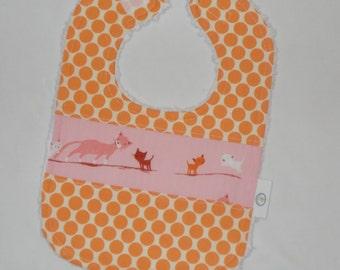 Pink Kitties and Dots Chenille Bib