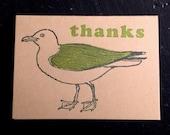 seagull thanks thank you letterpress card