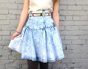 on sale! 1980s XS Bleached Denim Pleated Jean Skirt . Acid Wash Skirt . Cowgirl Cowboy Western . Southwestern Style Desert Native . Small