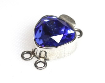 Sterling silver clasp with large blue faceted Swarovski crystal