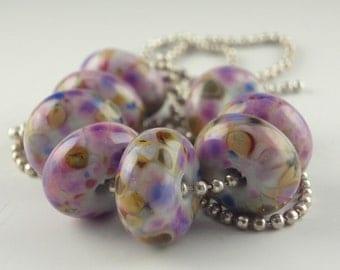 Lampwork Glass Beads, Handmade lampwork bead set, jewelry supplies, lampwork spacer bead, artist lampwork, Purple Passion