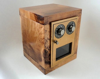 Rough Rugged Manly Man Bank with Vintage Brass Corbin Post Office Mail Box Door Combination lockbox groomsman wedding Retirement Anniversary