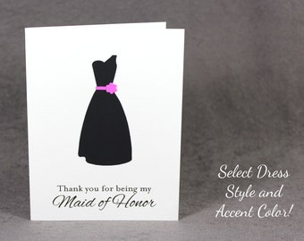 Thank You for Being My Maid of Honor, Maid of Honor Thank You Card, Dress Silhouette Notecard, PS2