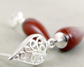 Teardrop earrings, Red Jasper, Sterling Silver, gemstone earrings, filigree jewelry