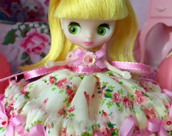 Petite Blythe Doll Dress.. Tiny Pink Roses..Handmade and Ooak