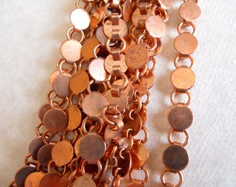 5 Feet Vintage Round Copper Book Chain
