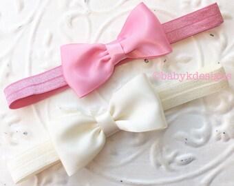 Newborn Baby Headband Vintage Lace or Satin Ivory Baptism Wedding Christening Bow   Infant Toddler Girls Headband   Wedding Accessories