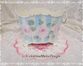 French Metal Bucket, Hand Painted with my Signature Roses, Blue Stripes, Designer Original, Decorative Display, ECS