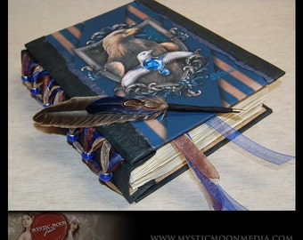 Wisdom - Ravenclaw Inspired Handmade XL Journal With Blue Glass Beads...Quill Pen- Refillable- Harry Potter Hogwarts House Journal