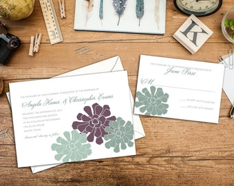 Simple Succulents Wedding Invitation, Custom Wedding Invitation, Wedding Response cards, Thank you cards, Garden Wedding, Simple Wedding