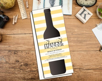 Wine Bottle Rehearsal Dinner Invitation, Rehearsal Dinner Invitation, Event Invitation, Unique Wine Event Invitations, Includes Envelopes