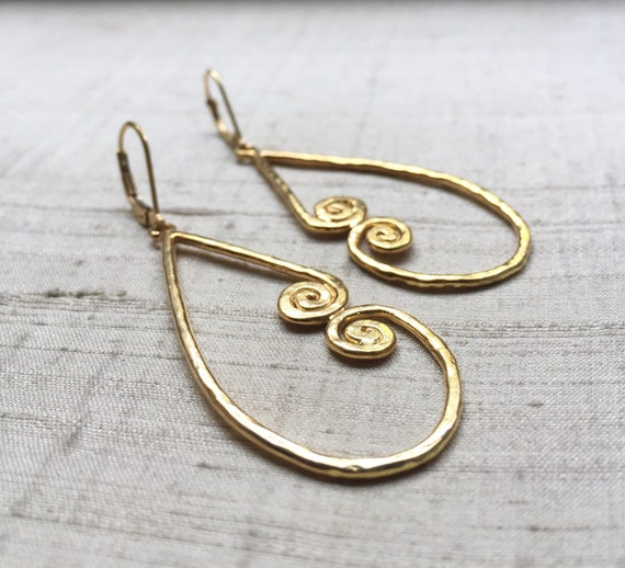 Gold Plated Bronze Petroglyph Earrings