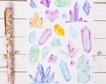 Crystals and Gems Watercolor GLOSS Sticker Sheet | For Kikki K, Erin Condren or other Journals and Planners