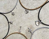 BUILD YOUR OWN Healing Gem choker necklaces in black, tan, gold or silver vegan suede Gold or silver dipped Crystal Quartz center for energy