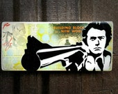 Dirty Harry Graffiti Painting on Canvas Pop Art Style Original Artwork Stencil Urban Street Art Clint Eastwood Painting