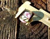 Pink Rose Euro, Lampwork Bead, Simply Lampwork by Nancy Gant SRA G55