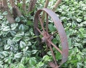 Vintage Iron Wheelbarrow Wheel - Rusty Iron Wheel - Rustic Decor - Garden Art