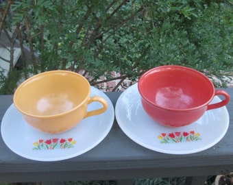 Two Vintage Cups and Saucers - Hazel Atlas/ Fire King Mid Century