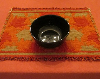 Four Woven Cotton Fall Placemats - Green and Orange Reversible