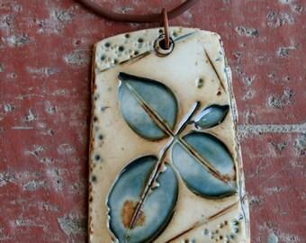 Rustic Teal Leaves Porcelain Pendant 2