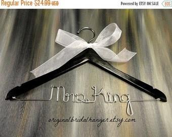 20% OFF SALE Black Hanger Bride Hanger Black Wedding Hanger Wedding Name Hanger Bridesmaid Hangers Bride Name Hangers Bridal Shower Gift