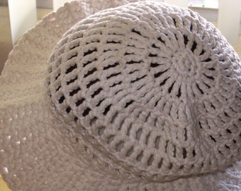 Cotton Mesh Sun Hat with Wide Brim - Made-To-Order Handmade Crochet - Adult Size - You Choose Color - Comfortable - Convenient - EcoFriendly