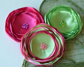 Singed satin flowers, fabric flower appliques, large silk flowers, wedding flowers, spring party flower  decor (3pcs)- FUCHSIA- GREEN- PINK