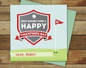 Golf Valentines - Printable Golf Valentine - classroom golf valentine's day card - instant download