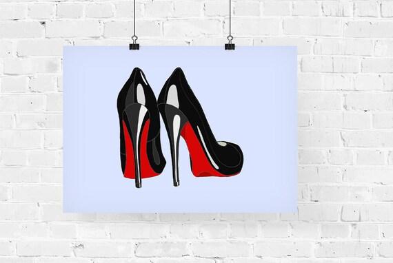 Louboutin Heels Fashion Illustration Art Print