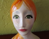 Mannequin Head Ceramic Pottery Quadrifoglio Florence Italy Hand Painted Green Eyes Bun Sculpture