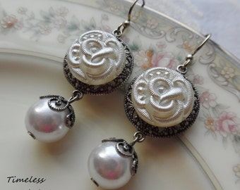 Wedding Bells, Vintage Glass Button Earrings